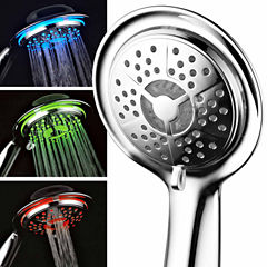 HotelSpa® All-Chrome LED Handheld Shower with Air Jet LED Turbo Pressure-Boost Nozzle Technology