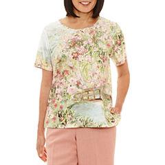 Alfred Dunner Botanical Garden Short Sleeve Crew Neck T-Shirt-Womens