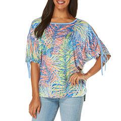 Rafaella Elbow Sleeve Crew Neck Graphic T-Shirt