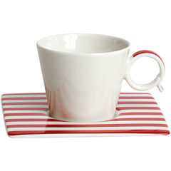 Red Vanilla Freshness Lines Espresso Cup and Saucer Set