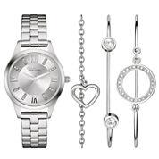 Caravelle New York® Womens Crystal Heart Bangle Watch Set