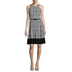 Tiana B. Sleeveless Greek Key Belted Fit-and-Flare Dress