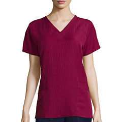 WonderWink® Womens Short-Sleeve Sporty V-Neck Top