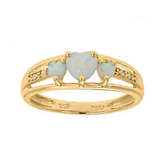 Lab-Created Opal and Diamond-Accent 3-Stone Heart Ring