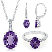 Sterling Silver Genuine Amethyst and Lab-Created White Sapphire Dainty Jewelry