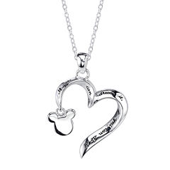 Disney Mickey Mouse Sterling Silver Openwork Heart Pendant Necklace