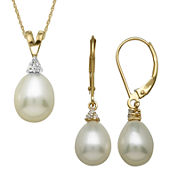 Certified Sofia™ Cultured Freshwater Pearl 14K Yellow Gold Pendant Necklace or Earrings