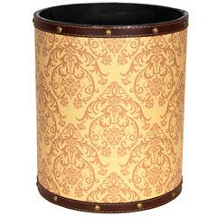 Oriental Furniture Yellow Damask Waste Basket