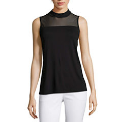 Worthington Sleeveless Mock Neck T-Shirt-Womens