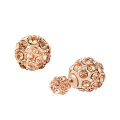 Worthington® Rose-Tone Crystal Pave Stud Earrings