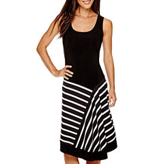 MSK Sleeveless Stripe Fit & Flare Dress