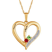 Personalized Diamond-Accent Couple's Name Birthstone Heart Pendant Necklace