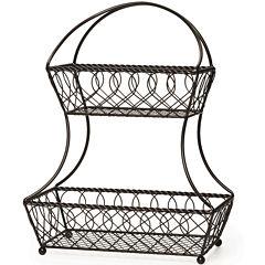 Gourmet Basics by Mikasa® Loop and Lattice 2-Tier Flat-Back Basket