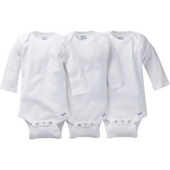 Gerber® 3 Pack Long Sleeve White Onesies® Bodysuits