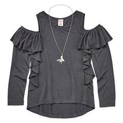 Arizona Long Sleeve Scoop Neck T-Shirt-Big Kid Girls