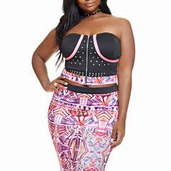 Fashion To Figure Kyla Kaleidoscope Studded Corset Tube Top-Plus