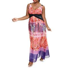 Fashion To Figure Florence Ombre Scarf Print Maxi Dress-Plus