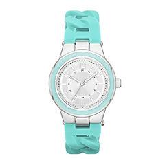 Womens Braided Silicone Strap Watch
