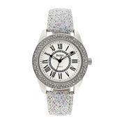 Decree® Womens Crystal-Accent Glitter White Strap Watch
