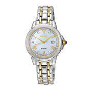 Seiko® Le Grand Sport Womens Diamond-Accent Two-Tone Stainless Steel Solar Bracelet Sport Watch SUT244