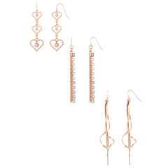 Decree 3 Pair Multi Color Earring Sets