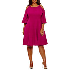 Danny & Nicole 3/4 Sleeve Fit & Flare Dress-Plus