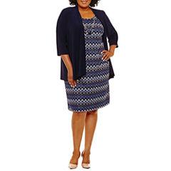 R & M Richards 3/4 Sleeve Jacket Dress-Plus