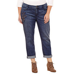St. John's Bay® Embroidered Boyfriend Jeans - Plus (29