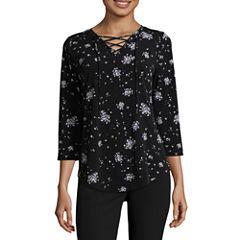 Worthington 3/4 Sleeve Lace Up Shirt