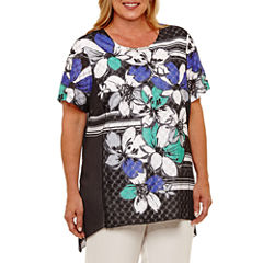 Alfred Dunner Ad Closet Case Short Sleeve Crew Neck Floral T-Shirt-Womens Plus