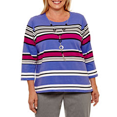 Alfred Dunner Ad Closet Case 3/4 Sleeve Crew Neck T-Shirt-Womens Plus