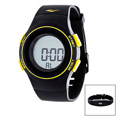 Everlast Black and Yellow Heart Rate Watch