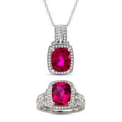 Lab-Created Ruby & White Sapphire Sterling Silver 2 Piece Set