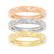 Tri-Color IP Stainless Steel 3-pc Stackable Ring Set