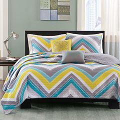 Intelligent Design Ariel Chevron Quilt Set