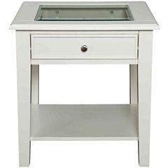 At Home Design Glass Top Single-Drawer 22
