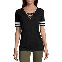 Flirtitude Lace Up Football T-Shirt- Juniors