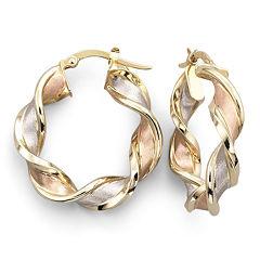 10K Gold Twisted Hoop Earrings