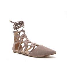Qupid Pointer Lace-Up Ballerina Flats