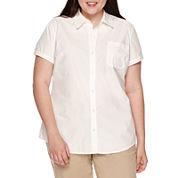 Arizona Short-Sleeve Woven Uniform Top - Juniors Plus