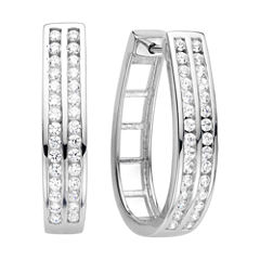1 CT. T.W. Diamond Sterling Silver Hoop Earrings
