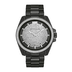 Wittnauer® Mens Crystal-Accent Black Stainless Steel Watch WN3057