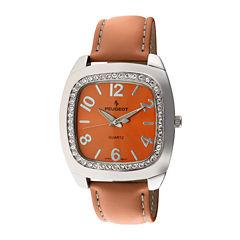 Peugeot® Womens Orange Crystal Bezel Boyfriend Leather Strap Watch 310OR