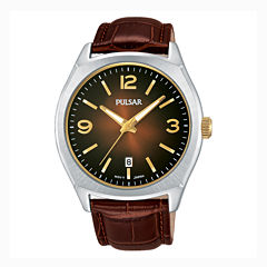 Pulsar® Men's Traditional Brown Leather Strap Watch PS9485