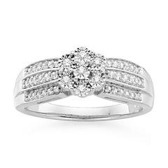 diamond blossom 1/5 CT. T.W. Diamond Triple Shank Sterling Silver Ring