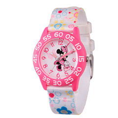 Disney Minnie Mouse Girls White Strap Watch-Wds000164