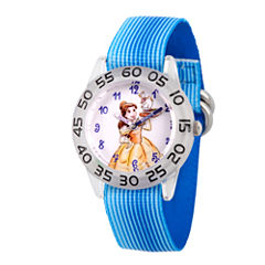 Disney Princess Belle Beauty and the Beast Girls Blue Strap Watch-Wds000220