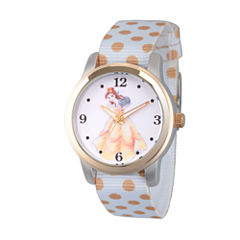 Disney Princess Belle Beauty and the Beast Womens White Strap Watch-Wds000241