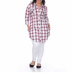 White Mark Piper Plaid Tunic Top Plus