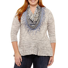 Unity World Wear 3/4 Sleeve Flounce Hem Knit Tee With Scarf - Plus
